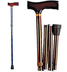 Valentine I. LTD Телескопическая складная трость с Т-образной деревянной ручкой (хром)