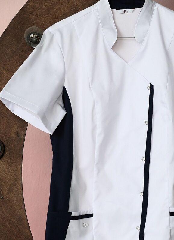Доктор Стиль Медицинская блуза «Венеция» cиняя ЛУ 1228.29 - фото 4