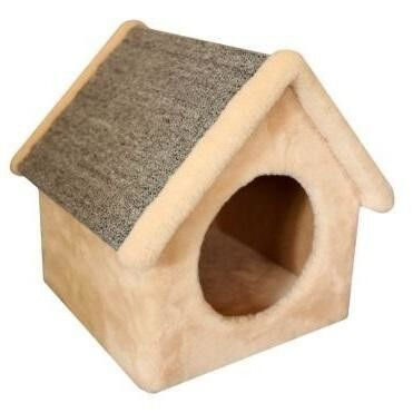 Когтеточка Cat House Когтеточка «Домик-будка» из меха и ковролина - фото 1