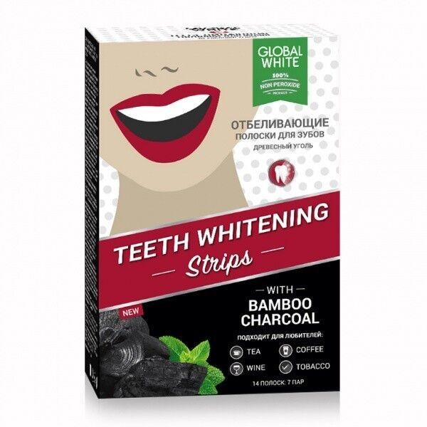 Global White Отбеливающие полоски для зубов Древесный уголь 7 дней - фото 1