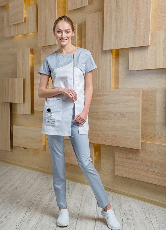 Доктор Стиль Медицинская блуза «Жемчуг» жемчужная ЛУ 1226.52 - фото 3