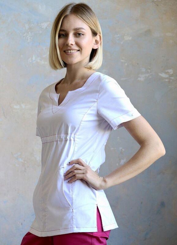 Доктор Стиль Медицинская блуза «Колибри» белая ЛЛ 2232.01 - фото 3