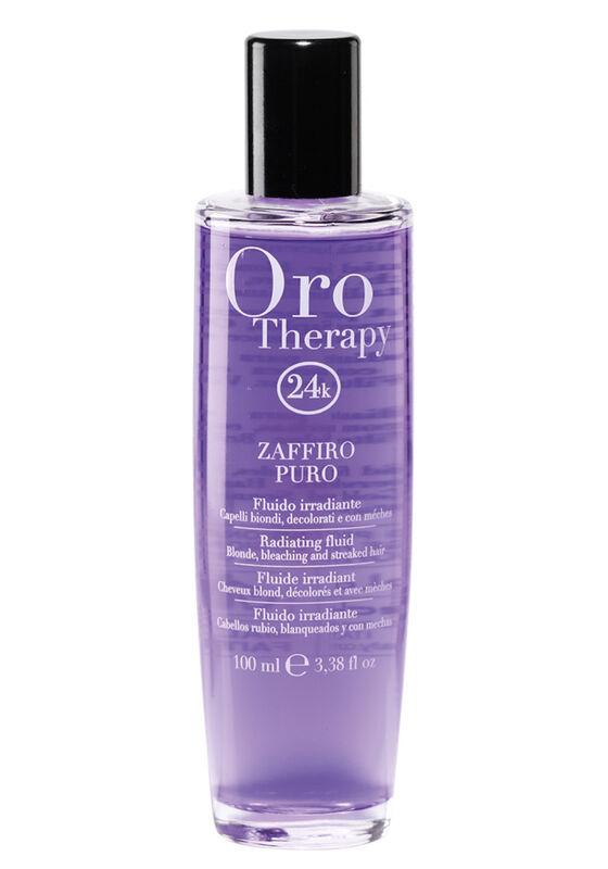 Fanola Сыворотка для блеска светлых и обесцвеченных волос Fanola Oro Therapy 24k Zaffiro Puro с микрочастицами золота и сапфира 100 мл - фото 1