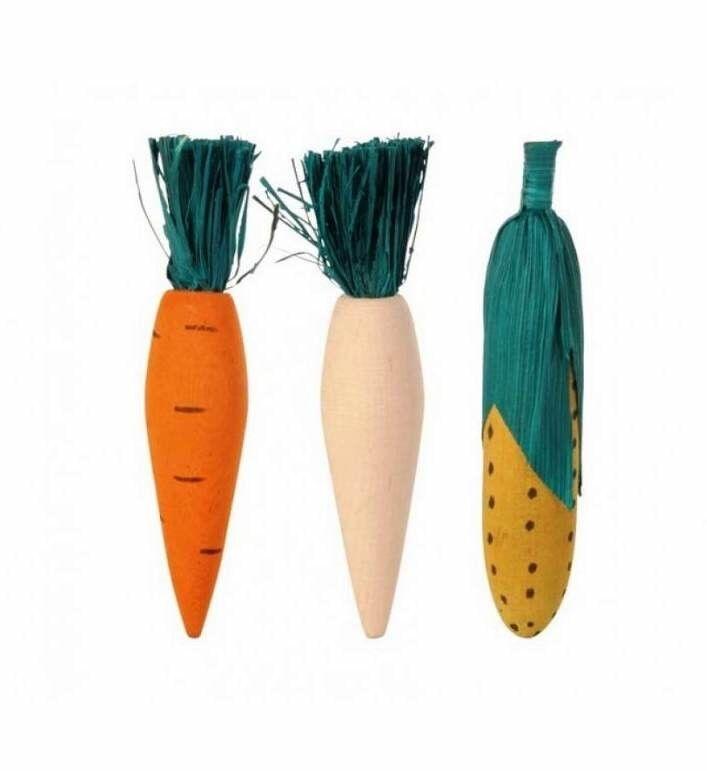 Beeztees Игрушка для грызунов «Деревянные овощи» 11 см - фото 1