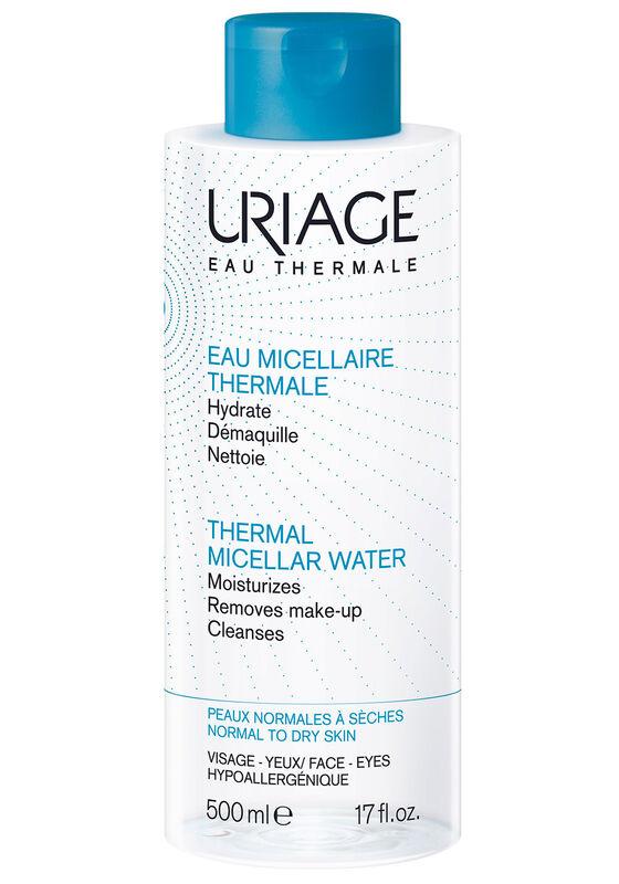 Uriage Вода мицеллярная очищающая для нормальной и сухой кожи лица и контура глаз EAU MICELLAIRE THERMALE PEAUX MIXTES A GRASSES 500 мл - фото 1