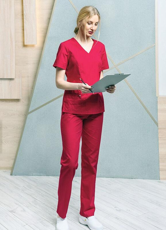 Доктор Стиль Медицинская блуза «Терра» красная ЛС 3229.16 - фото 1