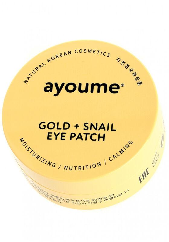 Ayoume Маски-патчи для глаз омолаживающие с золотом и улиточным муцином GOLD+SNAIL EYE PATCH - фото 1