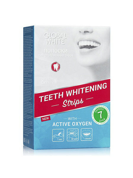 Global White Отбеливающие полоски для зубов 5 мл - фото 1