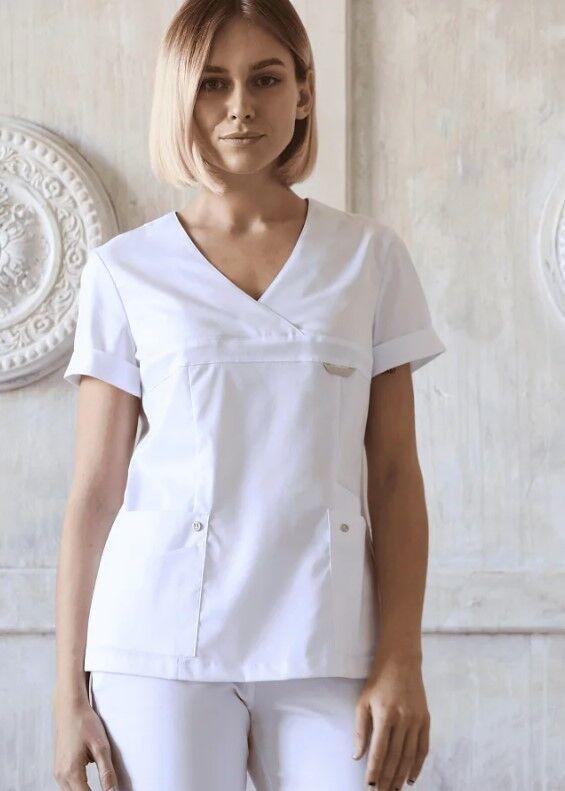 Доктор Стиль Медицинская блуза «Альфа» белая ЛУ 1230.01 - фото 2