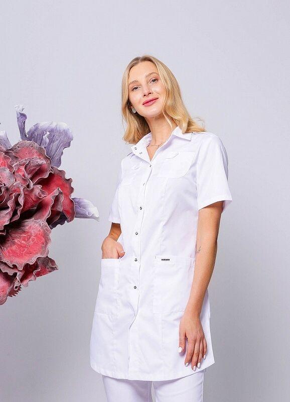 Доктор Стиль Медицинская блуза «Сафари» белая ЛЛ 2229.01 - фото 1