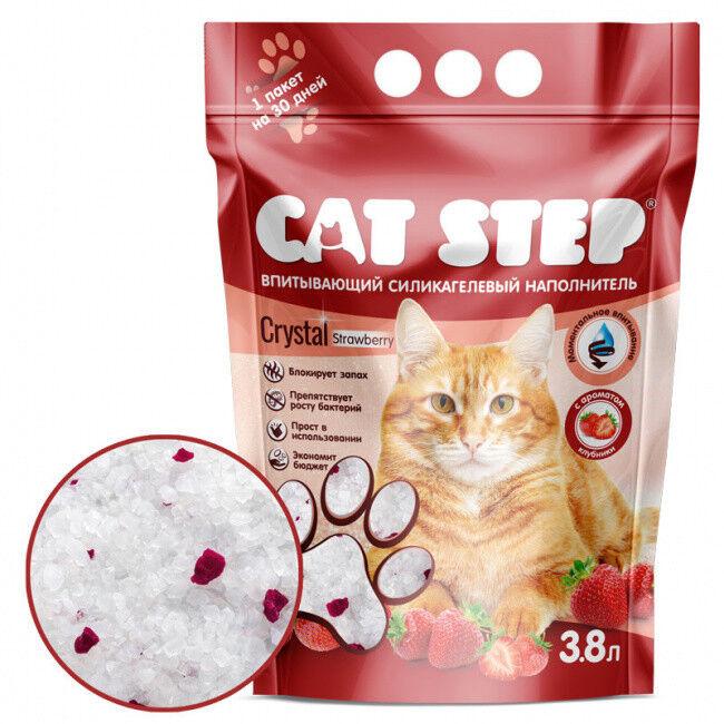Cat Step Впитывающий силикагелевый наполнитель для туалетов Клубника, 3,8л. - фото 1