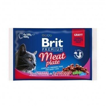 Brit Влажный корм для кошек и котов Meat Plate 100 гр. х 4 шт. - фото 1