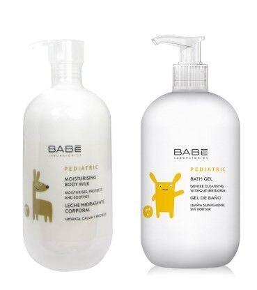 BABE Набор детский для увлажнения кожи (молочко детское увлажняющее для тела 500мл. + детский гель для купания ,100 мл.) - фото 1