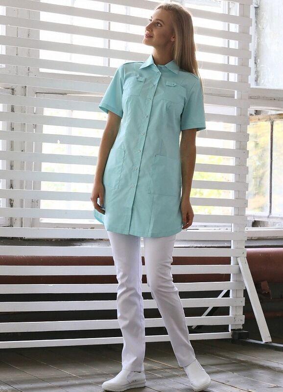 Доктор Стиль Медицинская блуза «Сафари» мята ЛЛ 2229.35 - фото 2