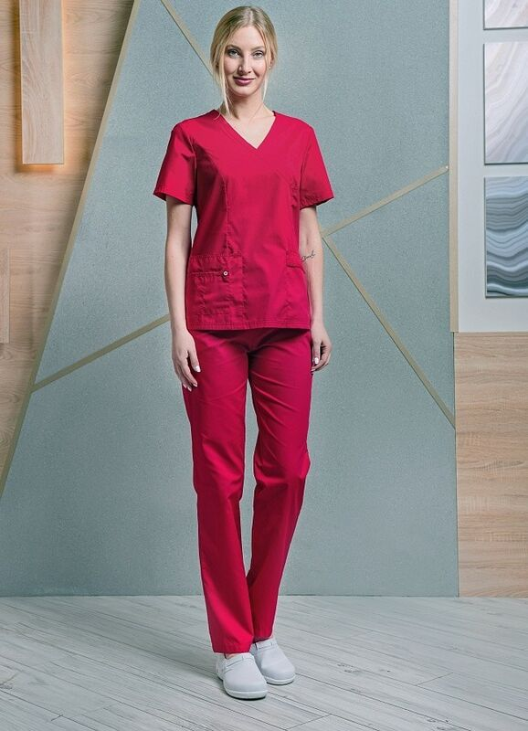 Доктор Стиль Медицинская блуза «Терра» красная ЛС 3229.16 - фото 2