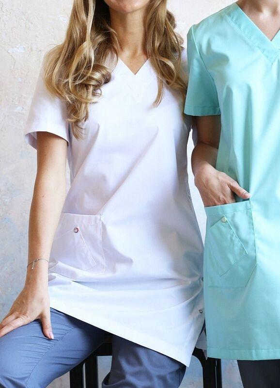 Доктор Стиль Медицинская блуза «Лонга» белая ЛЛ 2224.01 - фото 2