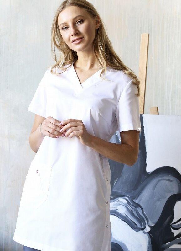 Доктор Стиль Медицинская блуза «Лонга» белая ЛЛ 2224.01 - фото 1