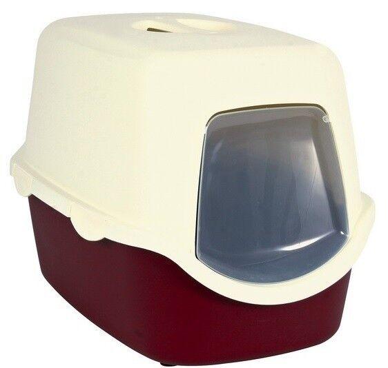 Trixie Туалет для кошек Vico, со съемной крышей и дверью, бордово-кремовый - фото 1