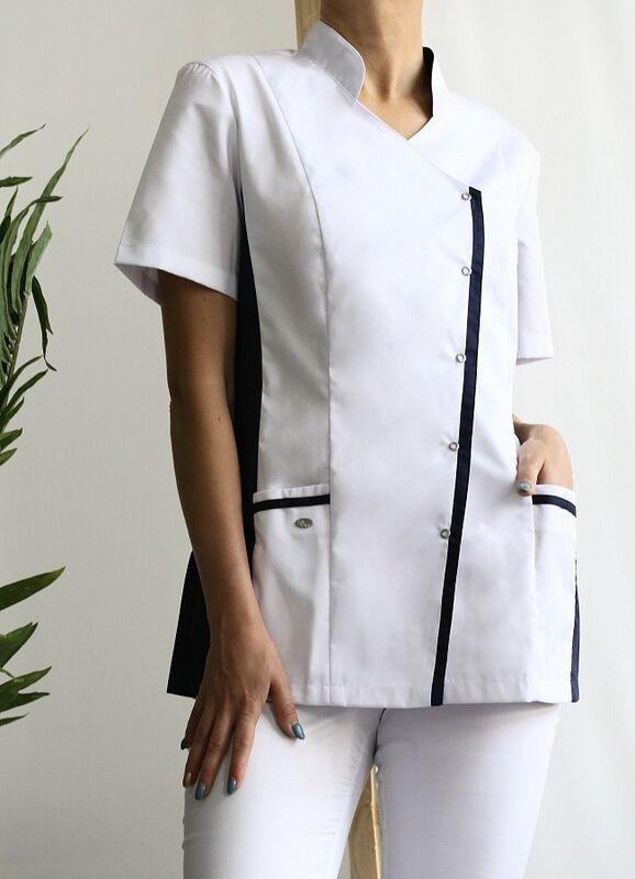 Доктор Стиль Медицинская блуза «Венеция» cиняя ЛУ 1228.29 - фото 2