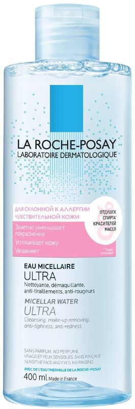 La-Roche-Posay ULTRA REACTIVE Мицеллярная вода для чувствительной и склонной к аллергии кожи лица и глаз, 400 мл - фото 1