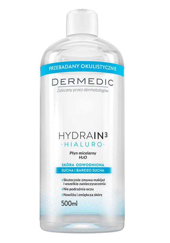 Dermedic Вода мицеллярная Hydrain3 Hialuro H2O 500мл - фото 1