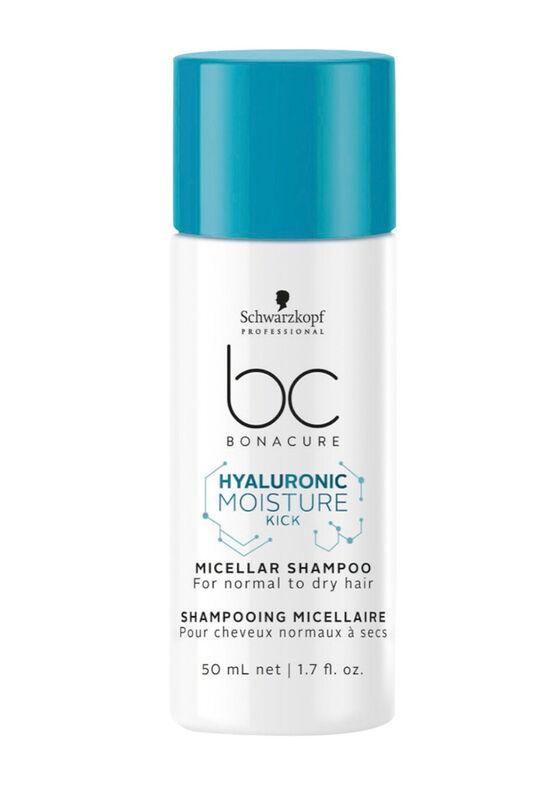 Schwarzkopf Professional Шампунь увлажняющий мицеллярный для деликатного очищения нормальных, сухих и вьющихся волос Hyaluronic Moisture Kick, 50 мл - фото 1