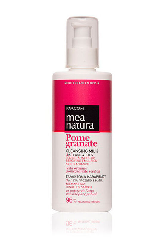 Farcom Молочко для демакияжа лица и глаз 3 в 1 Mea Natura Pomegranate очищающее с маслом граната 250 мл - фото 1