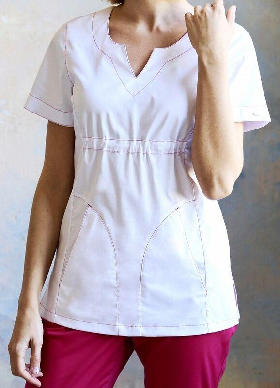 Доктор Стиль Медицинская блуза «Колибри» белая ЛЛ 2232.01 - фото 2