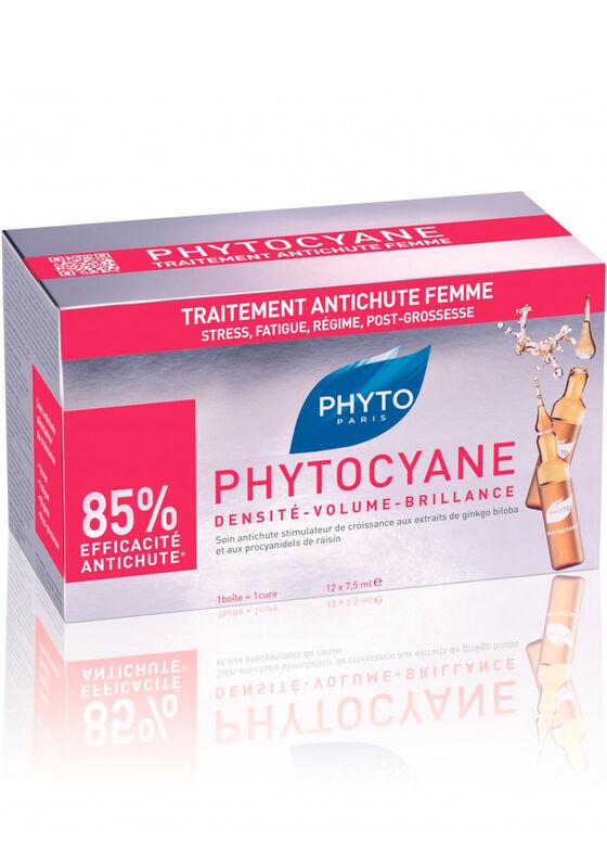 Phyto Paris Сыворотка против выпадения волос PHYTOCYANE TRAITEMENT ANTICHUTE FEMME, 12 амп*7,5мл - фото 1