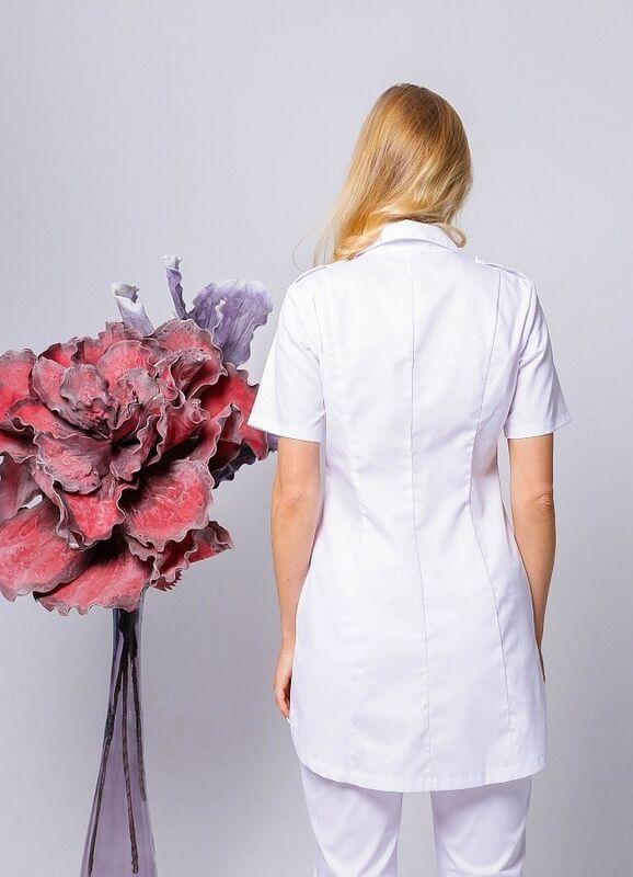 Доктор Стиль Медицинская блуза «Сафари» белая ЛЛ 2229.01 - фото 3