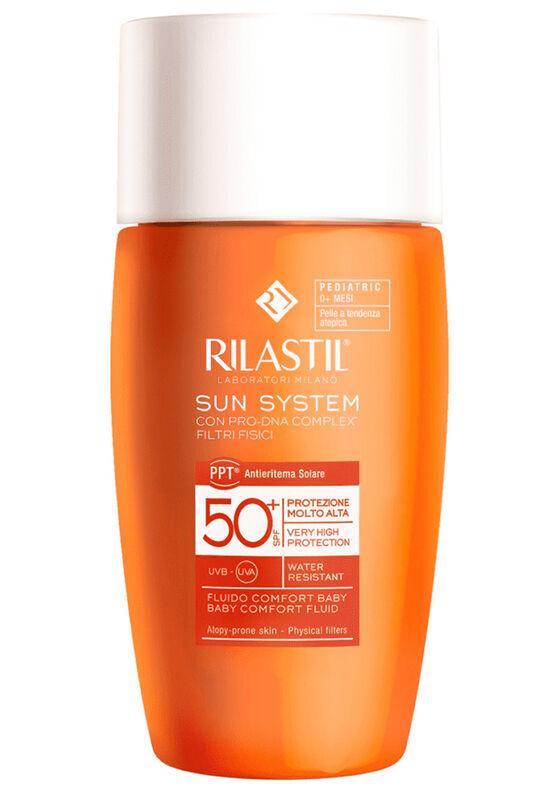 Rilastil Флюид SPF 50+ для ухода за кожей младенцев и детей с pro-DNA com SUN SYSTEM PEDIATRIC PPT BABY, 50мл - фото 1