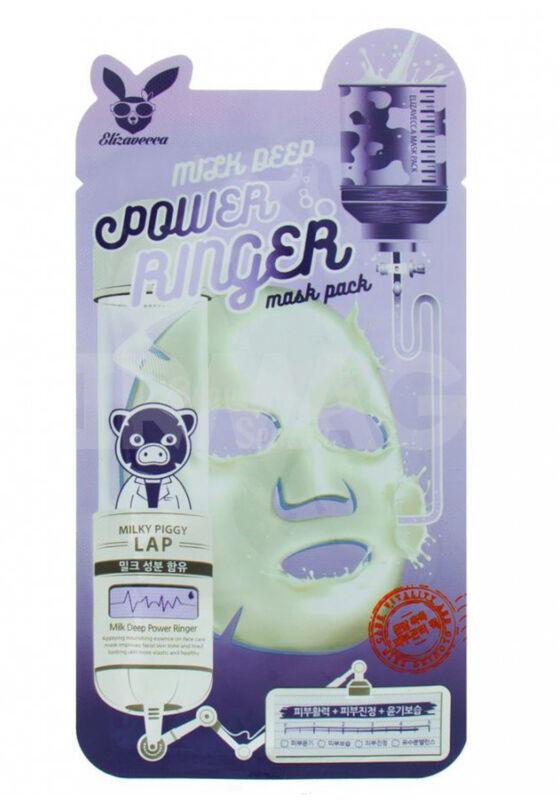 Elizavecca Маска тканевая для лица с Молоком MILK DEEP POWER Ringer mask pack, 1шт - фото 1