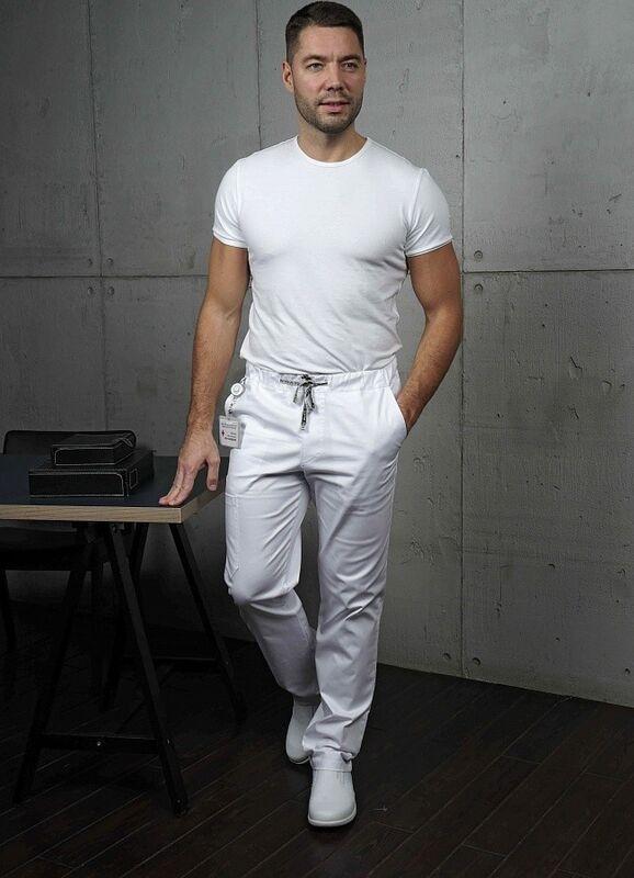 Доктор Стиль Медицинские брюки «Софт М» белые Брю 3410.01 - фото 1