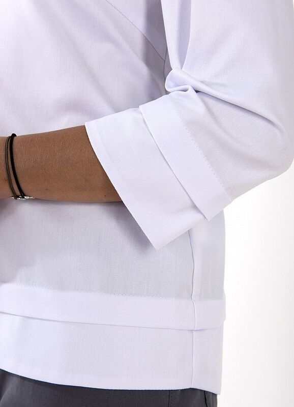 Доктор Стиль Медицинская блуза «Лодочка» белая ЛЛ 2226.01 - фото 2