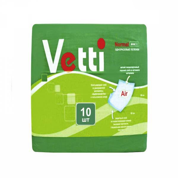 Vetti Пеленки (простыни) гигиенические одноразовые впитывающие, 90х60 см, 10 шт - фото 1