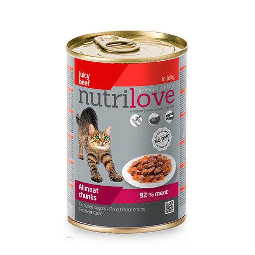 Nutrilove Chunks Cat beef in jelly 415 гр. х 12 шт. - фото 1