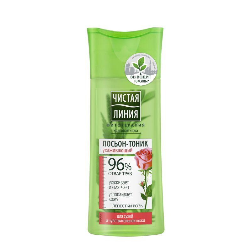 Чистая линия Лосьон-тоник  для сухой и чувствительной кожи с целебными травами лепестков роз, 200 мл - фото 1