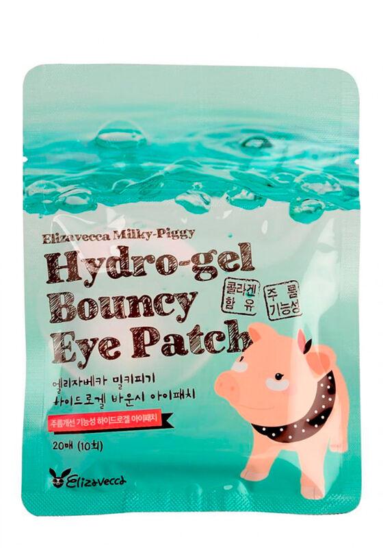 Elizavecca Набор патчей для глаз с жемчугом и гиалуроновой кислотой Milky Piggy Hydro-gel Bouncy Eye Patch 20шт - фото 1