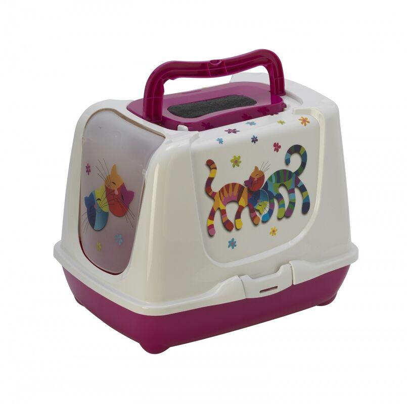 Moderna Туалет-домик Trendy cat «Друзья навсегда» розовый 57х45х43 - фото 1