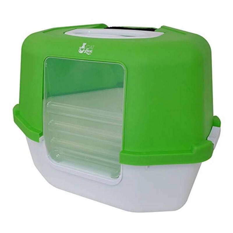 Catit Угловой закрытый туалет зеленый 55x45x30 см - фото 1