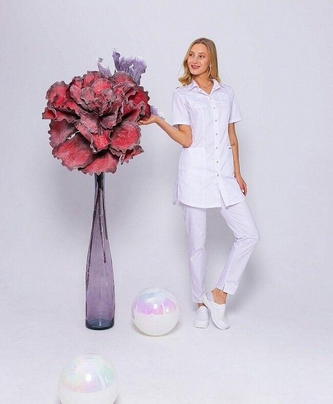 Доктор Стиль Медицинская блуза «Сафари» белая ЛЛ 2229.01 - фото 2