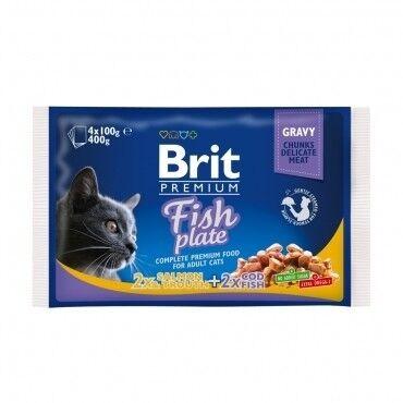 Brit Влажный корм для кошек и котов Fish Plate 100 гр. х 4 шт. - фото 1