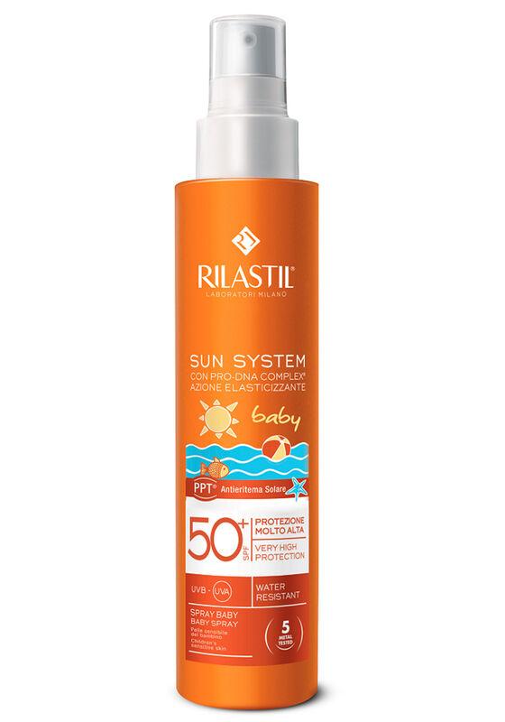 Rilastil Спрей для детей SPF 50+ для чувствительной кожи с con-pro-DNA complex SUN SYSTEM PPT BABY, 200 м - фото 1