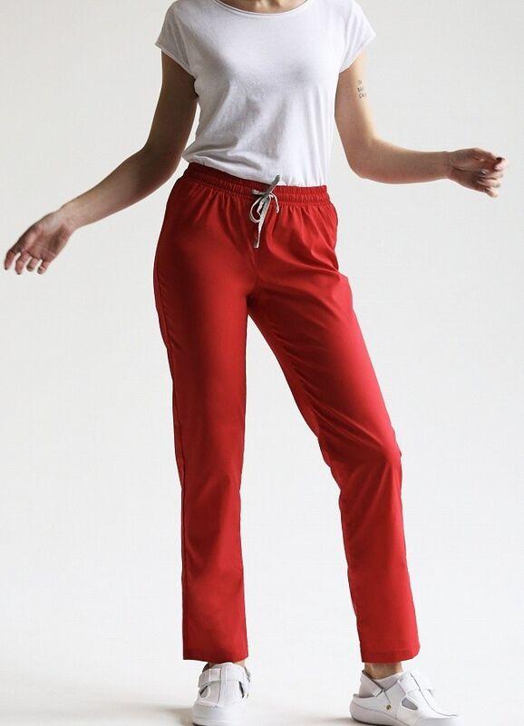 Доктор Стиль Медицинские брюки женские «Комфорт» красные Брю 3401.16 - фото 1