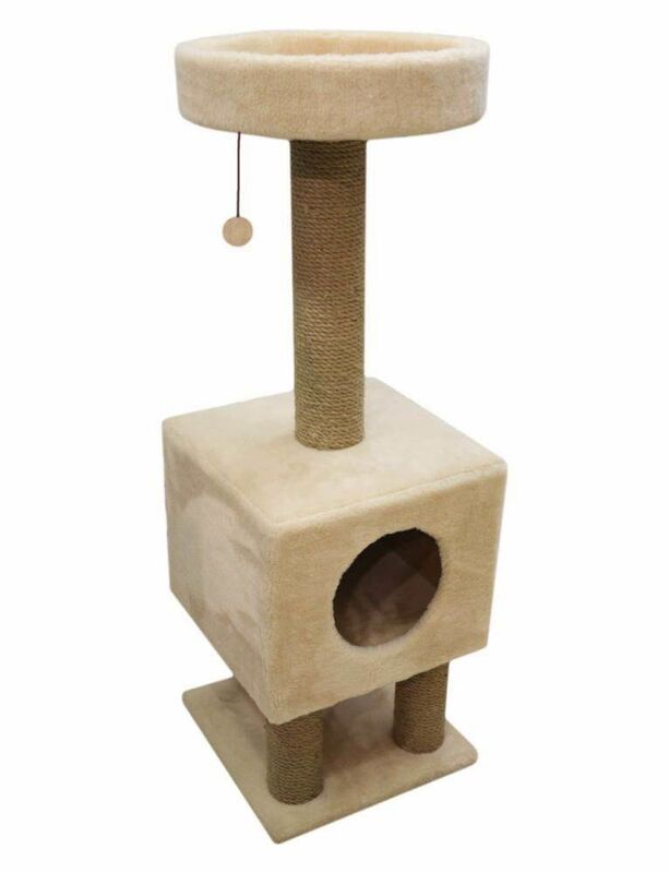 Когтеточка Cat House Когтеточка «Домик на ножках» из меха и джута - фото 1