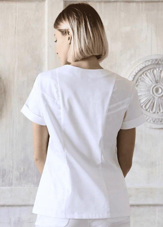 Доктор Стиль Медицинская блуза «Альфа» белая ЛУ 1230.01 - фото 4