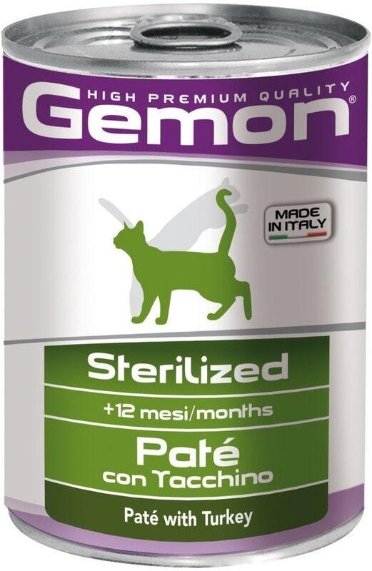Gemon Cat Adult Sterilised Pate Turkey 400 гр. х 12 шт. - фото 1