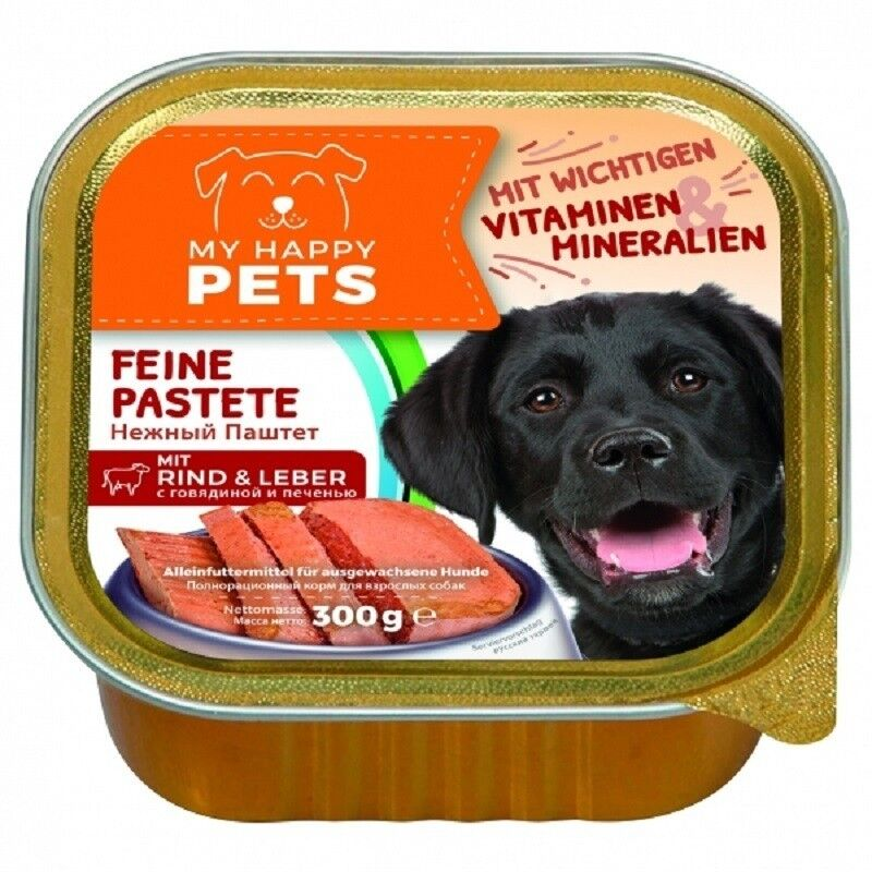 My Happy Pets For Dog Говядина и печень 300 гр. х 9 шт. - фото 1