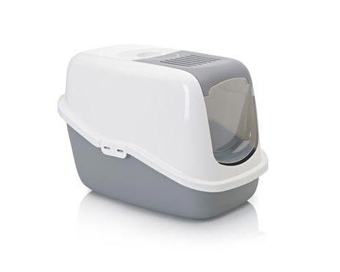 Savic Туалет-домик Nestor, для кошек, белый-серый, пластик - фото 1