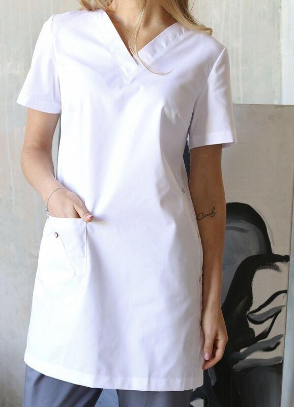Доктор Стиль Медицинская блуза «Лонга» белая ЛЛ 2224.01 - фото 3